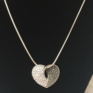 Jewelry - SS Floating Heart Marcasite and Crystal Necklace